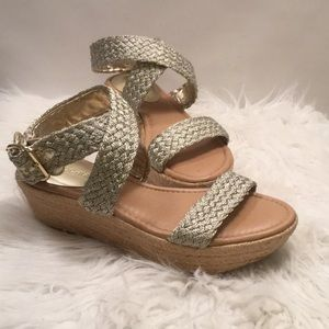 Metallic Silver Wedge Sandals